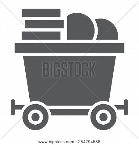 Coins On Mine Trolley Glyph Icon, Finance And Money, Bitcoin Mining Trolley Sign, Vector Graphics, A