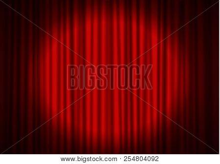 Red Curtain With Spotlight In Theater. Velvet Fabric Cinema Curtain Vector. Spotlight On Closed Curt