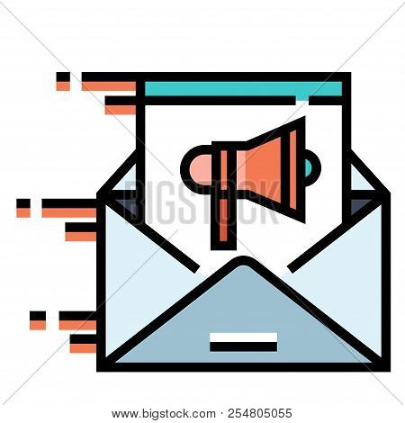 Moving Email With A Speakerphone Icon Vector Illustration In Line Color Design