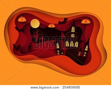 Paper Art Halloween Night Background With Haunted House, Flying Bat, Cemetery With Graves And Dead T