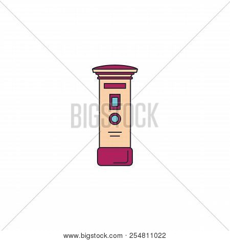 Mail Post Box Icon. Cartoon Mail Post Box Vector Icon For Web Design Isolated On White Background