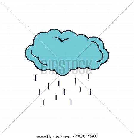 Rain Cloud Icon. Cartoon Rain Cloud Vector Icon For Web Design Isolated On White Background