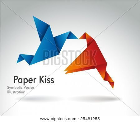 Paper Kiss, Origami symbolic vector illustration.