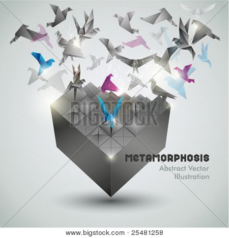 Metamorphosis, Origami abstract vector illustration.