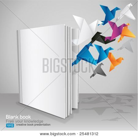 Blank Book, Creative Book Presentation. Vector Illustration.