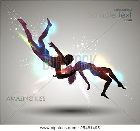 Amazing Kiss. Vector Illustration. EPS 10.
