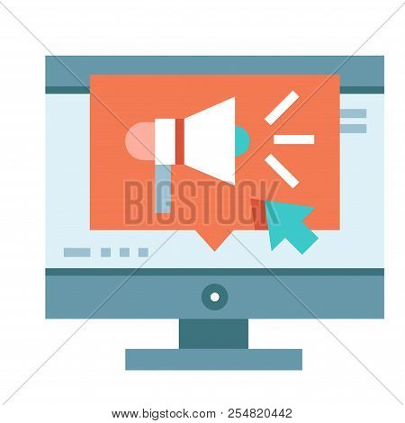 Computer Screen With A Speakerphone Icon Vector Illustration In Flat Color Design