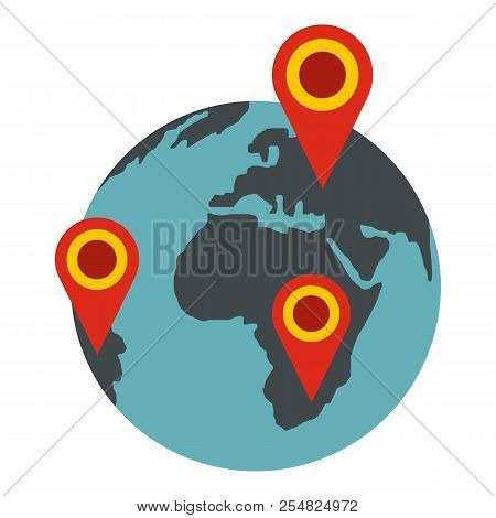 Globe Earth With Pointer Marks Icon. Flat Illustration Of Globe Icon For Web Design