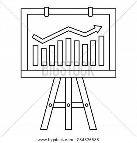 Progression Bar On Presentation Screen Icon. Outline Illustration Of Progression Bar On Presentation