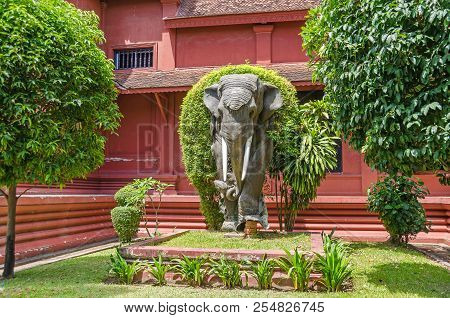Phnom Penh, Cambodia - April 8, 2018: National Museum Of Cambodia With Its Garden And An Elefant  St