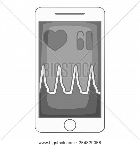 Pulse On Screen Of Smartphone Icon. Gray Monochrome Illustration Of Pulse On Screen Of Smartphone Ic