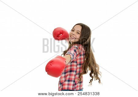 Every female should know defend herself. Girl cheerful training boxing gloves. Child smiling face sport gloves practice fighting skills isolated white. Girls power. Feel free comfortable and safely. poster