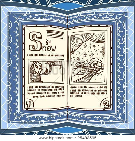 Ornamented magic book with the spell of snow