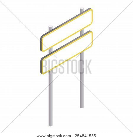 Road Sign On Pole Icon. Isometric 3d Illustration Of Road Sign On Pole Icon For Web