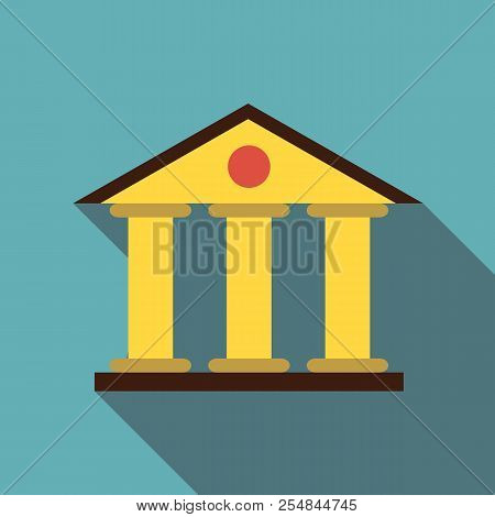 Justice Court Building Icon. Flat Illustration Of Justice Court Building Icon For Web Isolated On Ba