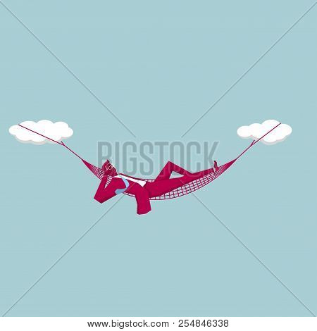Business Design Concept.businessman Lying In The Hammock,mid-air.
