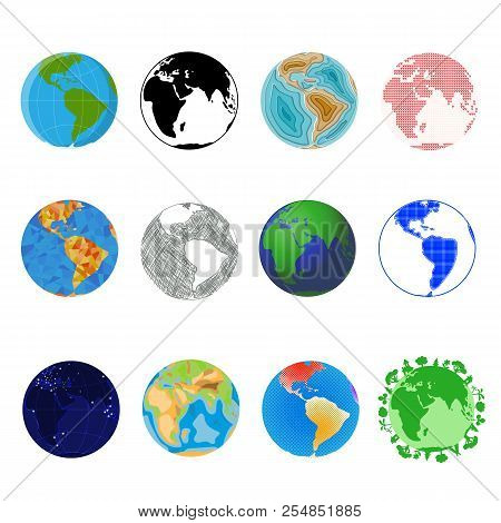 Earth Planet Vector Global World Universe And Worldwide Universal Globe Illustration Worldly Set Of