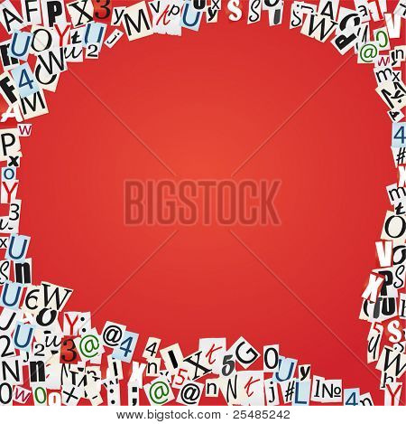 Speaking bubble of magazine`s letters