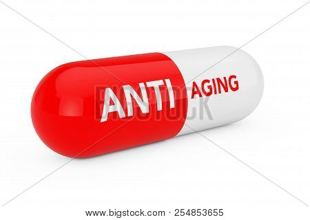 Capsule Pill With Anti Aging Sigh On A White Background. 3d Rendering