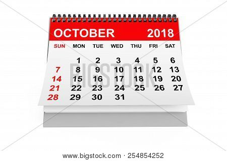 2018 Year Calendar. October Calendar On A White Background. 3d Rendering