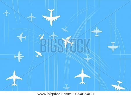 Transport and civil airplanes trajectories seamless background