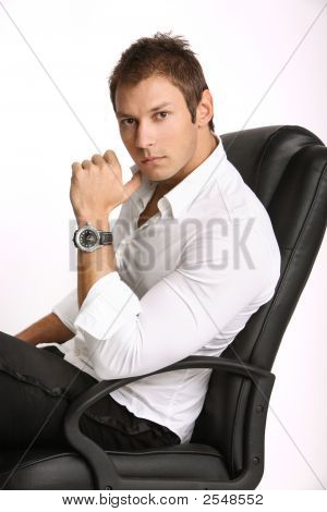 Man Sitting On Bussiness Chair