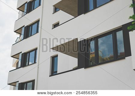 Balconies Of A Building, A Building In A Residential Area. Apartment Building Room Living Area , Vin