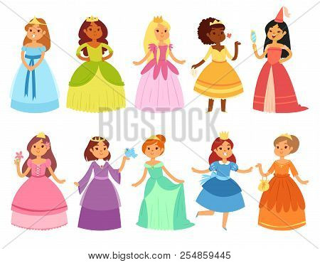 Princess Vector Little Girl Character In Beautiful Girlish Dress With Crown Illustration Fairy Set O