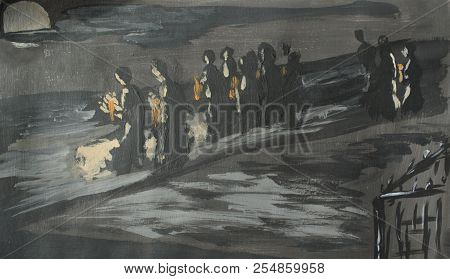 Funeral Procession At Night At The Moon, Illustration