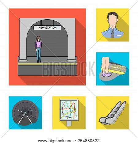 Metro, Subway Flat Icons In Set Collection For Design.urban Transport Vector Symbol Stock Web Illust