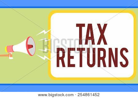 Handwriting Text Writing Tax Returns. Concept Meaning Tax Payer Financial Information Tax Liability