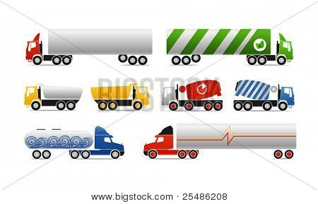 Different types of trucks. Vector collection