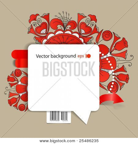 Abstract background of blank white speech cloud on the wall and floral ornaments