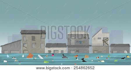Heavy Rain Drops And City Flood In Slum City With Garbage Floating In The Water, Vector Illustration