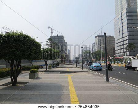 Jakarta, Indonesia - August 2, 2018: Wide Pedestrian Sidewalk On Jalan Thamrin.