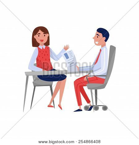 Young Woman Having Job Interview With Hr Specialist, Jobseeker And Employer Sitting At The Table And