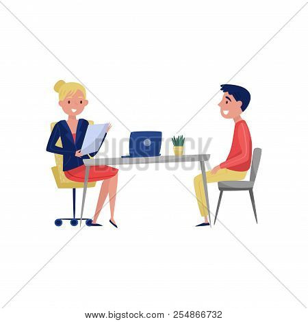 Young Man Having Job Interview With Hr Specialist, Jobseeker And Employer Sitting At The Table And T