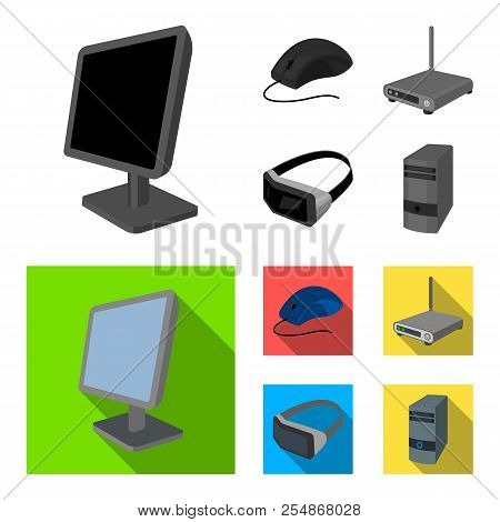 Monitor, Mouse And Other Equipment. Personal Computer Set Collection Icons In Monochrome, Flat Style