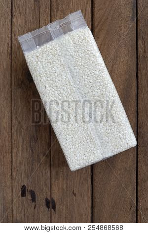 Arborio Rice On Wooden Background