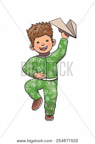 Funny Boy Playing, Running And Launching Airplane. Boy Cartoon Character Vector Illustration. Isolat