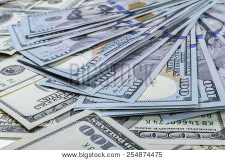 Stack Of One Hundred Dollar Bills. Stack Of Cash Money In Hundred Dollar Banknotes. Heap Of Hundred