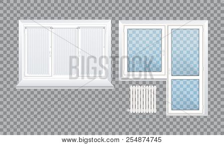 Realistic Glass Transparent Plastic Windows With Window Sills And Sashes.