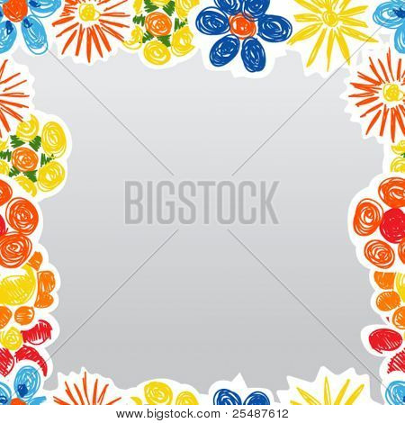 Abstract decorative flowers boarder template. Ready for a text
