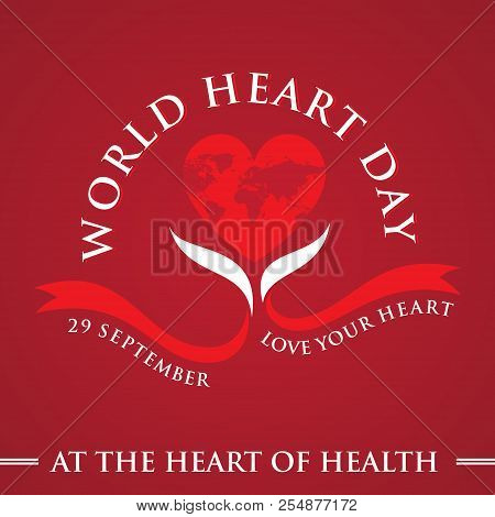 World Heart Day Core World Doctor Medical Greeting Card With Graphic Heart And Ribbon. Vector Illust