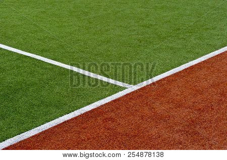 Texture Of The Herb Cover Sports Field. Used In Tennis, Golf, Baseball, Field Hockey, Football, Cric