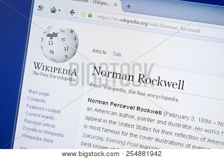 Ryazan, Russia - August 19, 2018: Wikipedia Page About Norman Rockwell On The Display Of Pc