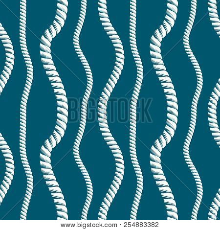 Seamless Nautical Rope Pattern Vector. Endless Navy Illustration With Loop Cord Lines Ornament. Navy