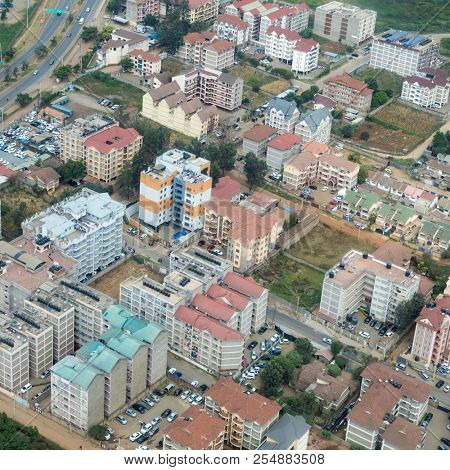 Aerial cityscape of Nairobi, Kenya, in an affluent district