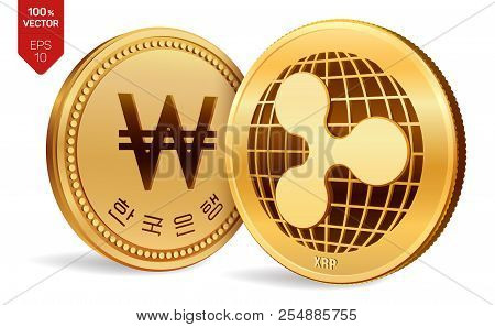 Ripple. Won. 3d Isometric Physical Coins. Digital Currency. Korea Won Coin. Cryptocurrency. Golden C