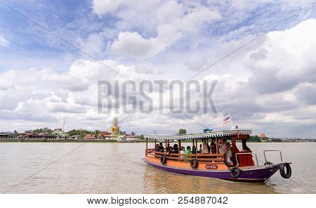 Thai Ferry Deliver Passengers From Another Side Of The Choa Pra Ya River To Tourist Palce In Kro Kre